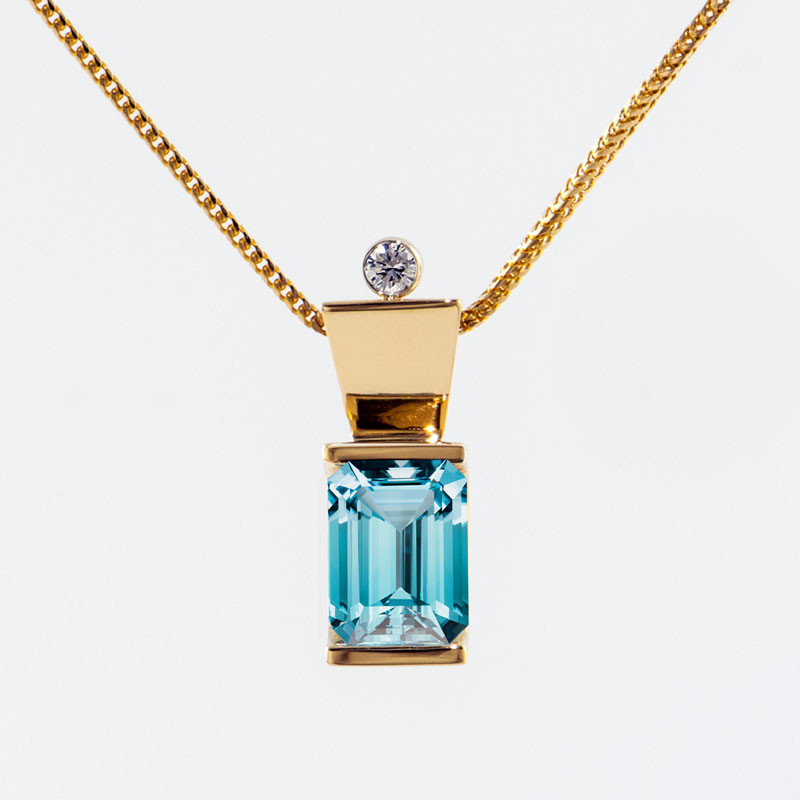 Floating Swiss Blue Topaz Necklace