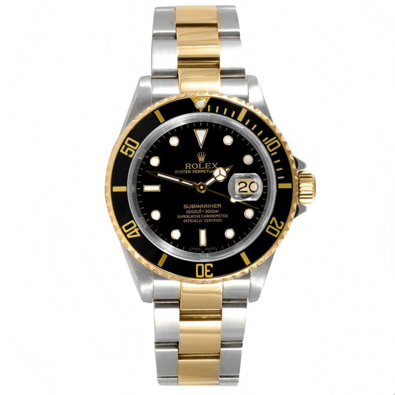 Two-Tone Rolex Black Submariner Watch
