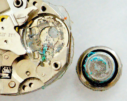 Corroded watch movement from a battery leaking